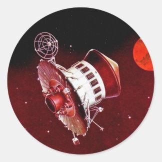 Rétro Lander 1967 vintage de Sci fi Mars Adhésifs Ronds