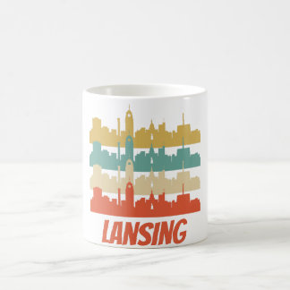 Retro Lansing MI Skyline Pop Art Coffee Mug