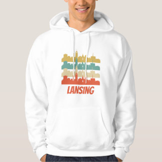 Retro Lansing MI Skyline Pop Art Hoodie