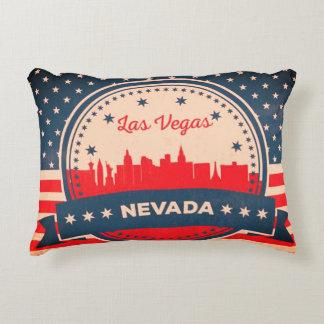 Retro Las Vegas Nevada Skyline Decorative Pillow