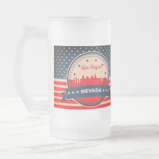 Retro Las Vegas Nevada Skyline Frosted Glass Beer Mug