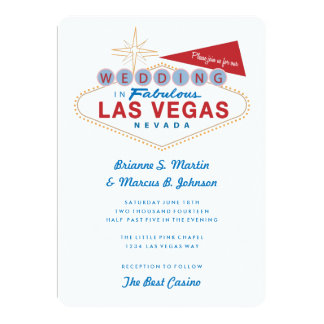 "Retro Las Vegas Sign Casino Wedding Invitation 5"" X 7"" Invitation Card"