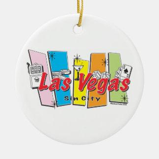 Retro Las Vegas Sin City Ceramic Ornament