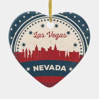 Retro Las Vegas Skyline Ceramic Heart Ornament