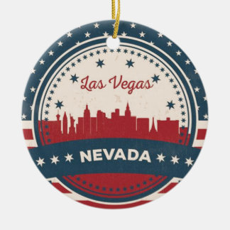 Retro Las Vegas Skyline Round Ceramic Ornament