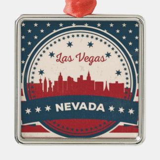 Retro Las Vegas Skyline Silver-Colored Square Ornament