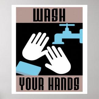 Rétro lavage frais votre affiche de mains