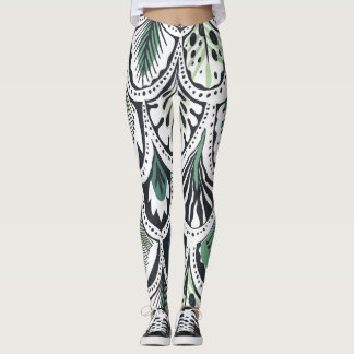 RETRO LEAVES DESIGN LEGGINGS