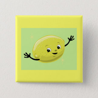 Retro Lemon Guy 2 Inch Square Button