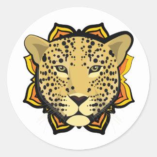Retro Leopard Classic Round Sticker