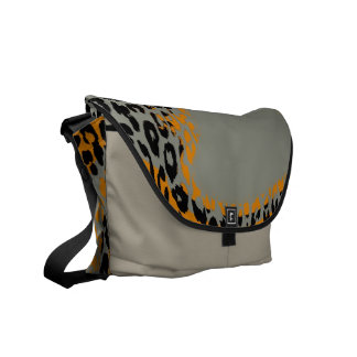 Retro Leopard Print Skin and Modern design Messenger Bags