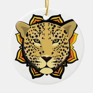 Retro Leopard Round Ceramic Ornament