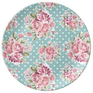 retro light blue poke dots floral porcelain plate