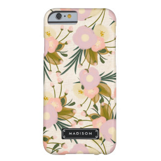 Rétro lilas floral Girly chic et pêche Coque Barely There iPhone 6