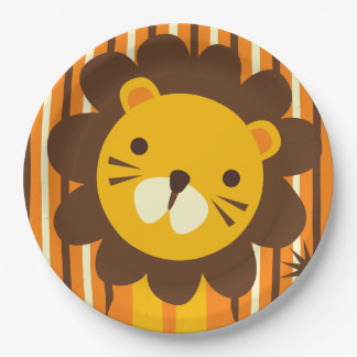 Retro Lion on Stripes Paper Plate