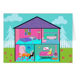 Retro Living Dollhouse Greeting Card