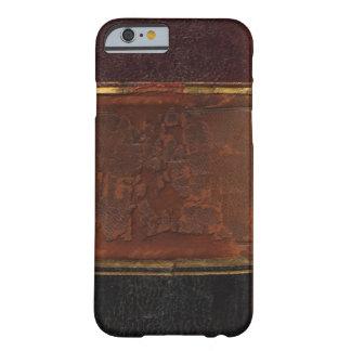Rétro livre antique, brun attaché de cuir de faux coque barely there iPhone 6