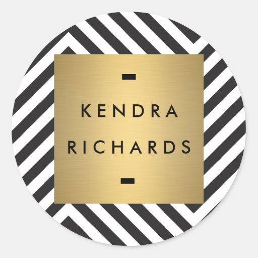 Rétro logo noir et blanc de nom d'or de motif adhésifs ronds
