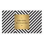 Rétro logo noir et blanc de nom d'or de motif cartes de visite professionnelles