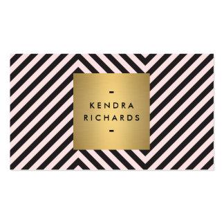 Rétro logo noir et rose de nom d'or de motif cartes de visite personnelles