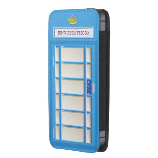 Retro London Phone Box Blue Telephone Booth iPhone 5 Pouch
