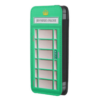 Retro London Phone Box Green Telephone Booth iPhone 5 Pouch