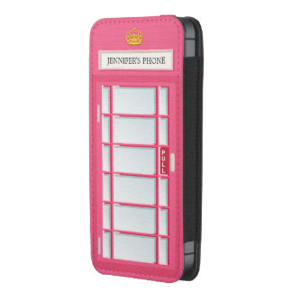 Retro London Phone Box Pink Telephone Booth iPhone 5 Pouch