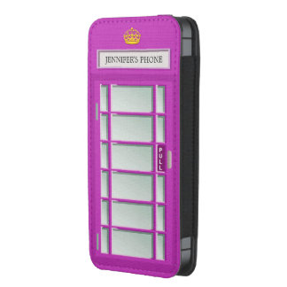 Retro London Phone Box Purple Telephone Booth iPhone 5 Pouch