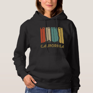 Retro Long Beach California Skyline Hoodie