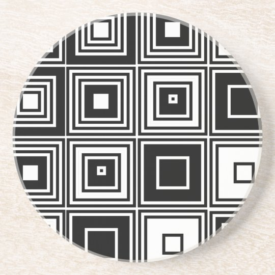 Retro look black white square pattern coaster