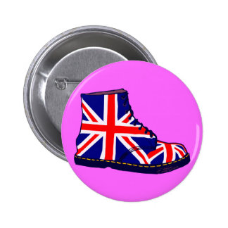 Retro look british boot pop art 2 inch round button