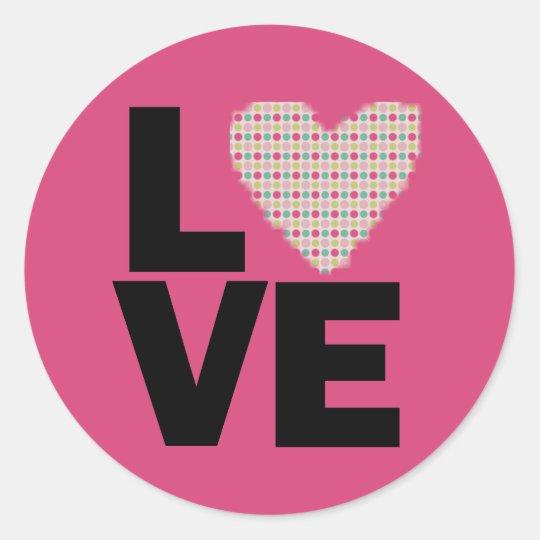 Retro Love Classic Round Sticker