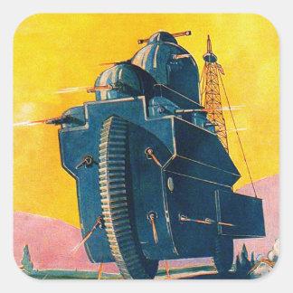 Rétro machine de guerre vintage de Sci fi 20s de Sticker Carré