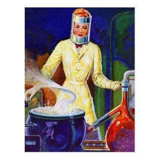Rétro Madame vintage Women Scientist de pulpe des Carte Postale