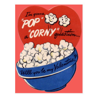Rétro maïs éclaté vintage Valentine Cartes Postales