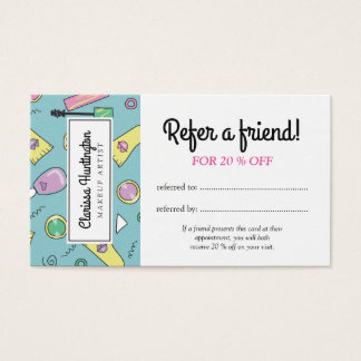 Retro Makeup Doodles | Refer a Friend Business Card