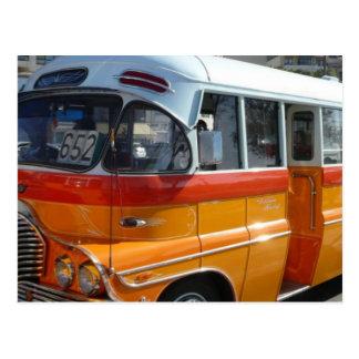 Retro Malta bus Postcard