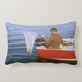 Retro Man Fishing on Boat, Fish In Net - Father's Pillows