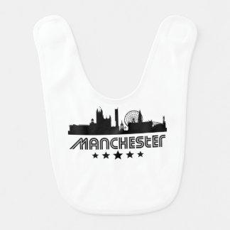 Retro Manchester Skyline Baby Bib