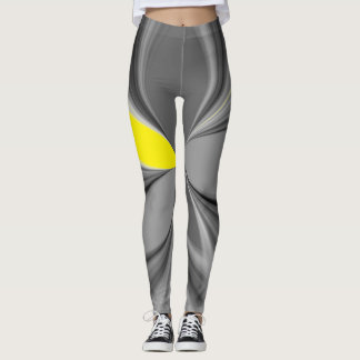 Retro Marble Grey and Yellow Jogging Future Design Leggings