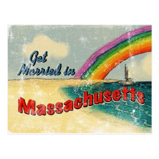 Rétro mariez-vous dans le Massachusetts Carte Postale