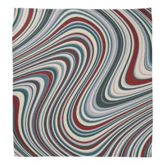 Retro Maroon Red & Teal Blue Abstract Curvy Shapes Bandana