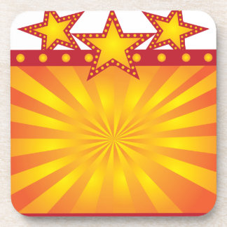 Retro Marquee Sign with Sun Rays Illustration Coaster