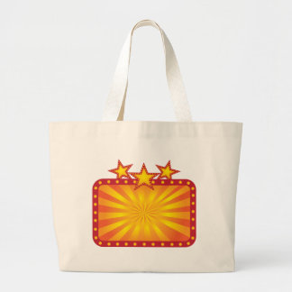 Retro Marquee Sign with Sun Rays Illustration Large Tote Bag