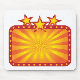 Retro Marquee Sign with Sun Rays Illustration Mouse Pad