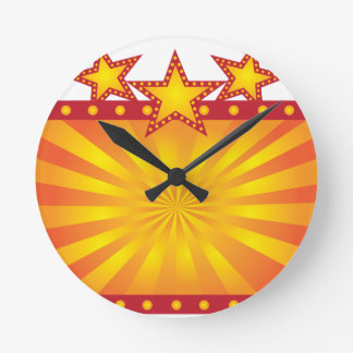 Retro Marquee Sign with Sun Rays Illustration Round Clock