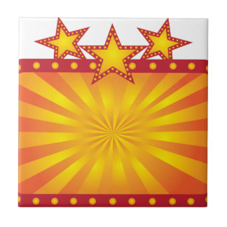 Retro Marquee Sign with Sun Rays Illustration Tile