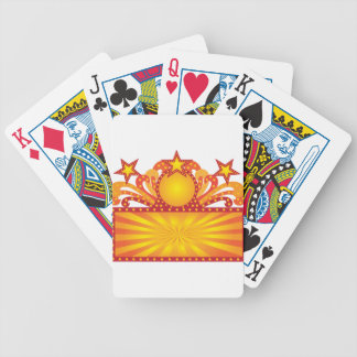 Retro Marquee Sign with Sunrays Stars Illustration Bicycle Playing Cards