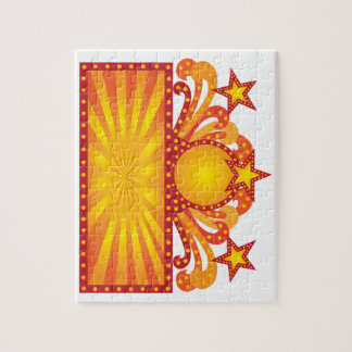 Retro Marquee Sign with Sunrays Stars Illustration Jigsaw Puzzle