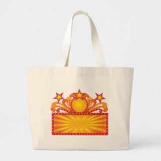 Retro Marquee Sign with Sunrays Stars Illustration Large Tote Bag
